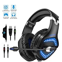 Gaming Headset, ONIKUMA Gaming Headphones for PS4, Xbox One, PC, Nintendo Switch Laptop Mac Computer Smartphone Enhanced 7.1 Surround Sound, Updated Noise Canceling Mic Headphones, Soft Breathing Earmuffs, Mute & Volume Control
