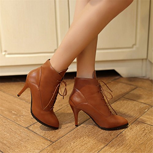 Europe female Martin boots and tie heeled size America pointed high Brown shoes heel boots big short rrSw4