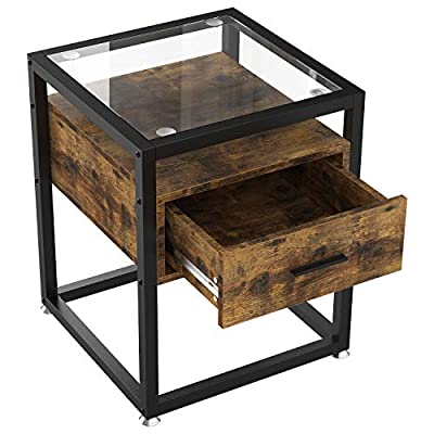 IRONCK End Tables Living Room, Side Table with Storage Shelf,Night Stand