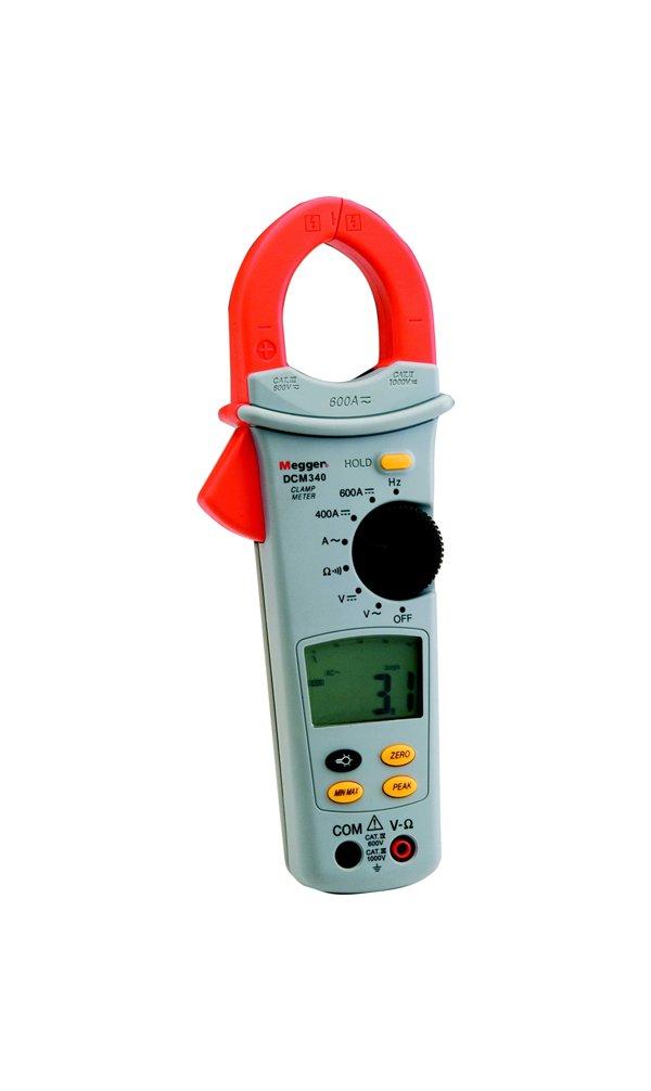 Megger DCM340-EN AC/DC Clamp Meter, 400 Ohms Resistance, 600V AC/DC Voltage, 600A AC/DC Current, 400Hz Frequency