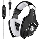 [2017 Newly Updated USB Gaming Headset] SADES A60/OMG Computer Over Ear Stereo Headsets Heaphones With Microphone Noise Isolating Volume Control LED Light (Black+White) For PC And MAC For Sale