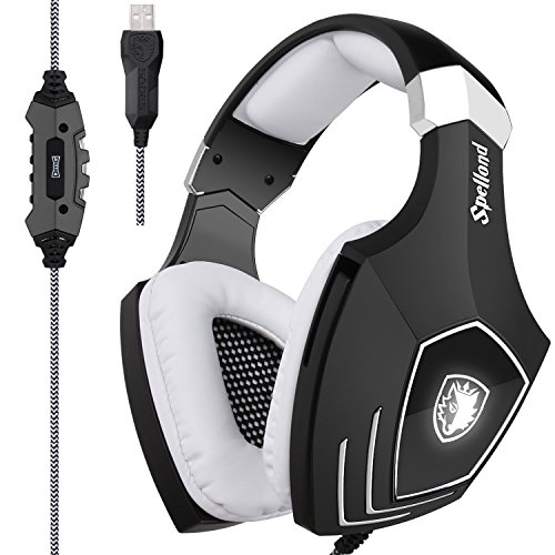 [2017 Newly Updated USB Gaming Headset] SADES A60/OMG Computer Over Ear Stereo Headsets Heaphones With Microphone Noise Isolating Volume Control LED Light (Black+White) For PC And MAC