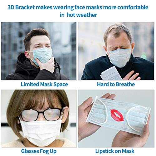 3D Mask Bracket for Comfortable Mask Wearing,LACE INN Reusable 3D Mask Bracket to Create More Breathing Space (Adult 5PCS)