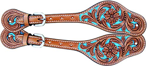 Oxbow Tooled Spur Straps - Different Colors! (Turquoise - Inlay Southwestern