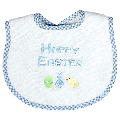 - Raindrops Embroidered Bib, Happy Easter, Blue, Small