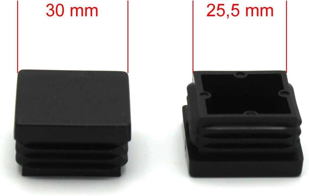 40/unidades cuadrado de rohrstopfen L/áminas Tap/ón 30/x 30/mm Negro