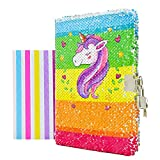 """VIPbuy Kid Girls' Unicorn Notebook Diary with Lock and Key Flip Sequin Journal w/ Photo Corner, 8.5"""" x 5.5"""", 156 Pages"""