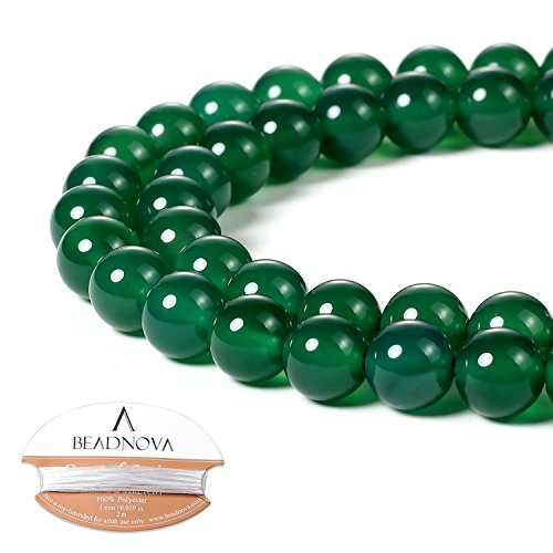 BEADNOVA 8mm Natural Green Agate Gemstone Round Loose Beads for Jewelry Making (45-48pcs)