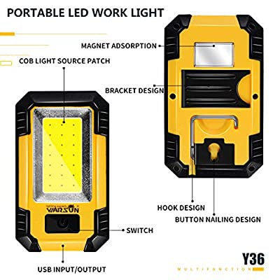 Warsun KS-08 Portable LED Rechargeable Work Light,Magnetic Base & Hanging Hook,30W 1200Lumens Super Bright,5000K,for Car Repairing, Camping,Hiking, Backpacking, Fishing, Hurricane,Emer, Yellow
