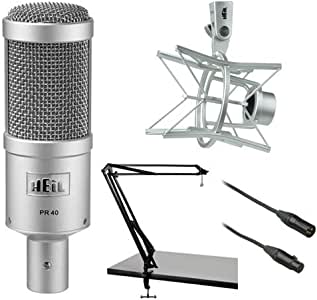 Heil Sound PR 40 Dynamic Cardioid Studio Microphone Bundle with PRSM Shock Mount, Two-Section Broadcast Arm and Microphone Cable (Champagne)