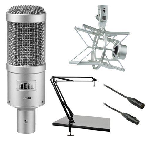 Heil Sound PR 40 Dynamic Cardioid Studio Microphone Bundle with PRSM Shock Mount, Two-Section Broadcast Arm and Microphone Cable (Preamp Series Mic)