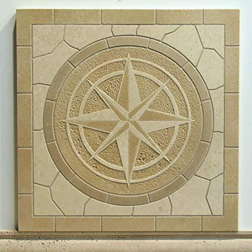 Compass Rose Monolithic Mosaic Etched Tile Medallion (Tiles Mosaic Compass)