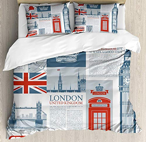 Phone Booth Duvet Cover Set Twin Size, London United Twindom Themed Landmarks and Flags, Decorative 3 Piece Bedding Set with 2 Pillow Shams, Slate Brown Vermilion and Pale Blue Grey (Themed Covers Duvet London)