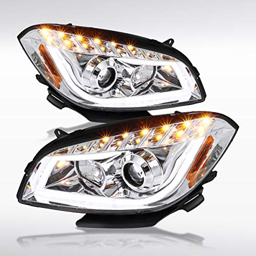 Malibu Projector Headlights - Autozensation For Chevy Malibu LT LS LTZ LED Crystal Clear Projector Headlights Lamps Left+Right Pair