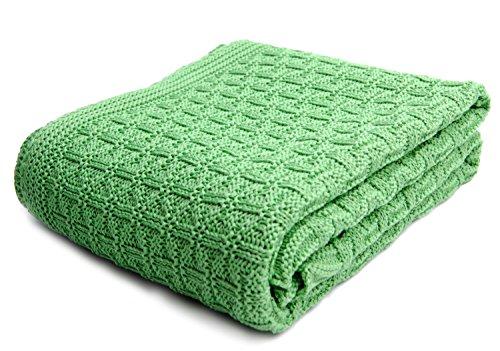 SonnenStrick 3009002 Babydecke / Kuscheldecke / Strickdecke aus 100 % Bio Baumwolle kba Made in Germany, 100 x 90 cm, grün