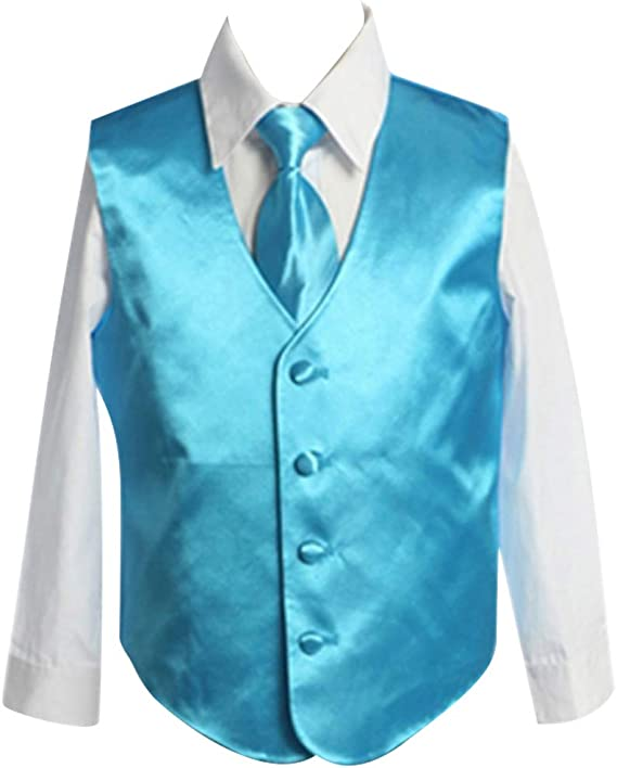 HBDesign Boys3 Piece 4 Button Slim Fit Satin Vest Hot Pink Vest+Shirt+Tie