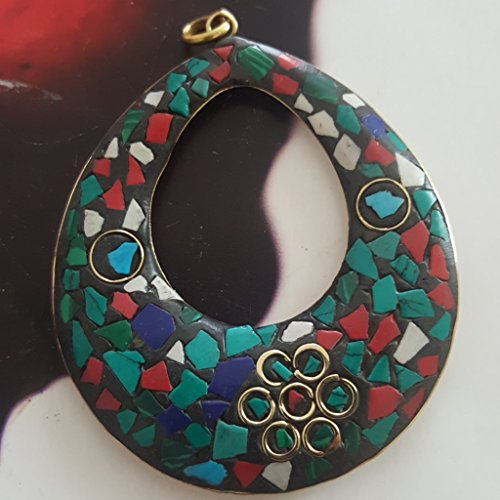 Mosaic Inlay Pendant - Antique Brass Mosaic Turquoise & Coral Lapis Inlay Folk Artisan Pendant Ethic Boho 3