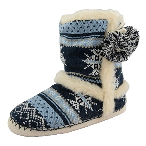 LADIES BRIANNA FARAH ANNABELLE WOMEN DUNLOP SLIPPER WINTER BOOTS FAUX FUR LINING Farah Navy iXteoH