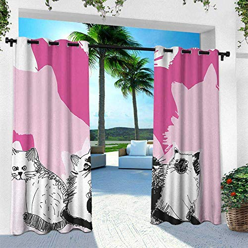 Animal, for Patio Light Block Heat Out Water Proof Drape,Baby Cute Cats Kittens with Shadow Sketchy Image Artwork, W84 x L96 Inch, Black White Light Pink and Hot Pink]()