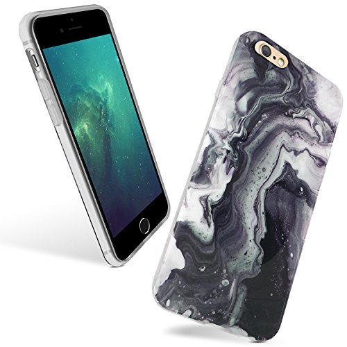iPhone 6 Plus / iPhone 6s Plus Soft Back Case,JUN-Q [Ink Flow]Damask Color Stitching Slim Fit Case Cover Marble Pattern Texture Soft Plastic Clear Case Protect iPhone 6s Plus /iPhone 6 Plus