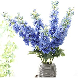 "Skyseen Set of 5 Stems 41"" Artificial Antirrhinum Snapdragon Silk Delphinium Flowers (Blue) 3"