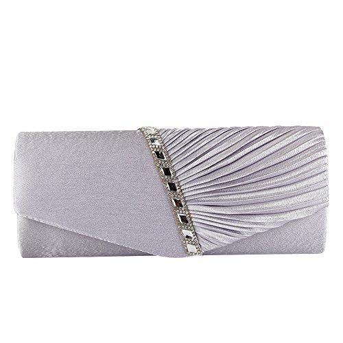 Womens YA JIAN NA Evening Silver Studded Crystal Pleated Evening Clutch Satin Handbag Clutch qBWUWnE
