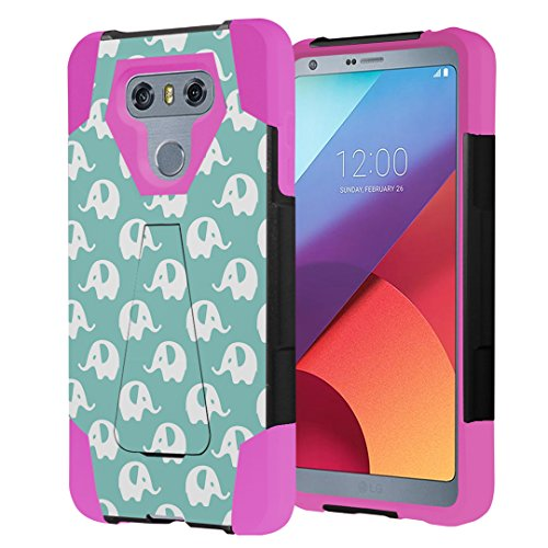 Capsule Case Compatible with LG G6 [Hybrid Fusion Dual Layer Shockproof Combat Kickstand Case Black Pink] for LGG6 LG G6 2017 - (Mint Elephant) (Best Wallpapers For Lg G2)
