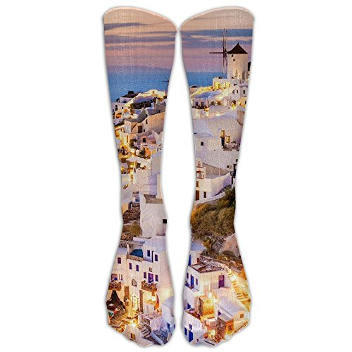 White Building House In Greece Long Dress Socks Football Sports Socks Casual Over-the-Calf -