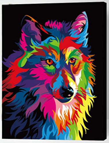 MailingArt Wooden Framed Paint By Number No Mixing / No Blending Canvas DIY Painting - Color Animals (Wolf)