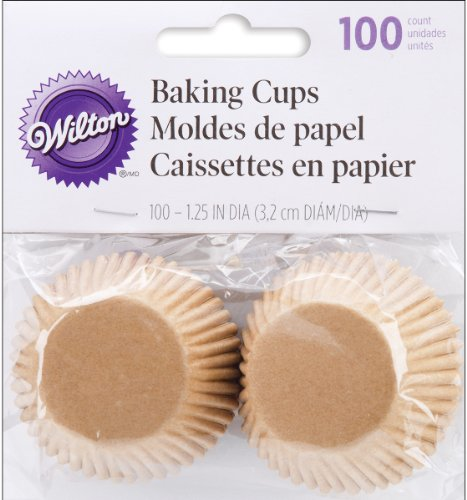 Mini Baking Cups-Unbleached 100/Pkg - Wilton-Mini Baking Cups. Mini Cupcakes And Muffins Get All Dressed Up With These Fun And Festive Baking Cups! Each Package Contains 100 Mini (1-1/4 Inch) Paper B