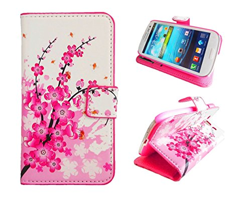 S3 Case,Galaxy S3 Case, Welity Flower Card Slot PU Wallet Leather Cover Case for Samsung Galaxy S3 i9300 and one gift