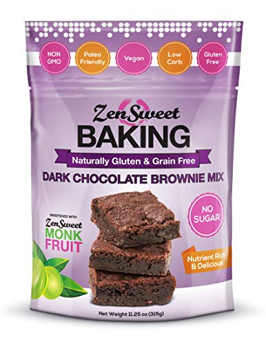 ZenSweet Baking Dark Chocolate Brownie Mix 11.25 oz, Sugar Free, Non-GMO, Paleo, Vegan, Low Carb, & Gluten Free