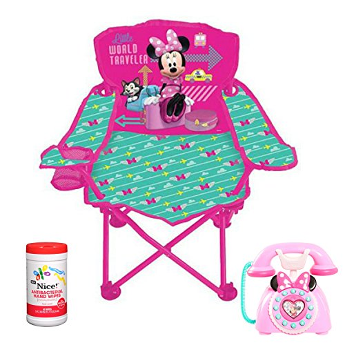 Disney Minnie Mouse Kids Jet Set Fold 'N Go Steel Folding Chair and Minnie's Happy Helpers Phone Toy Bundle with BONUS Antibacterial Hand (Daisy Duke Costume For Adults)
