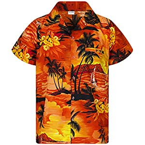 King Kameha Chemise Hawaïenne pour Homme Funky Casual Button Down Very Loud Courtes Unisex Surf