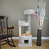 Climbing Kitty Tower 52 inch Tall Cat Condo Furniture 2 Beds in Gray