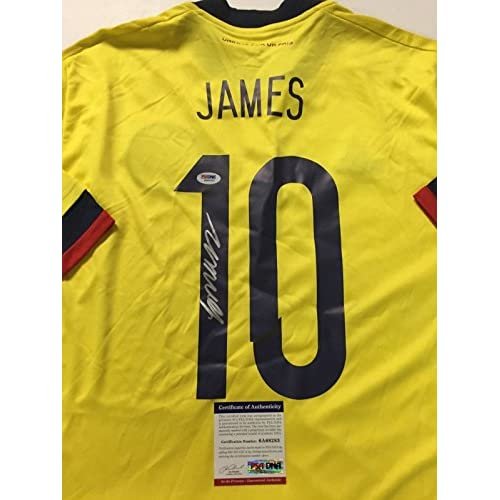 low priced f5fc9 e1454 Autographed/Signed James Rodriguez Columbia Yellow Soccer ...
