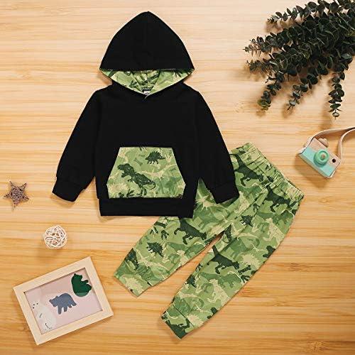 1-6Yrs Kid Boy Camouflage Dinosaur Tracksuit Long Sleeve Sweatshirt Hoodie Pants Outfits Set