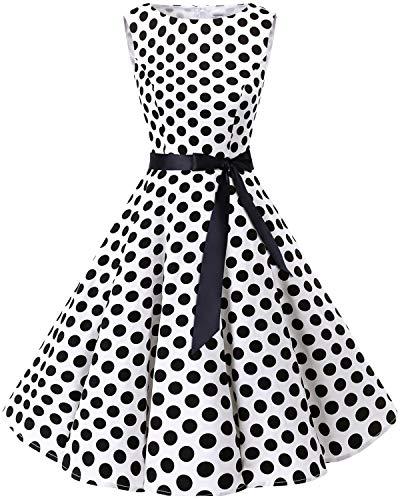 Bbonlinedress Women's 1950s Audrey Summer Vintage Rockabilly Swing Dress White Black BDot S]()