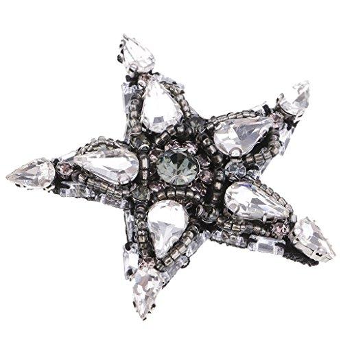 Perfk ラインストーン ビーズ 縫製パッチ アップリケ スター形 五芒星 手芸用品 手作りの商品画像
