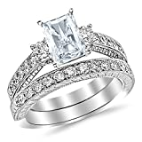 1.53 Ctw 14K White Gold GIA Certified Radiant Cut Three Stone Vintage With Milgrain & Filigree Bridal Set with Wedding Band & Diamond Engagement Ring, 0.5 Ct G-H I1 Center