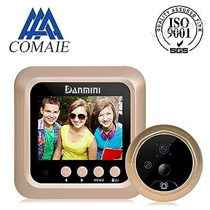 Timbre digital LCD con mirilla inteligente y cámara con detección de movimiento interior, visión nocturna