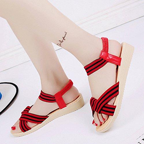 JITIAN Chaussures Ouvert Femme Sandale de Plage Bout Rond Ballerine Bride Cheville Sandales Talons Plates Rouge r4pv8
