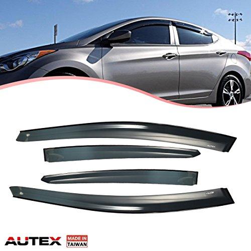 AUTEX Made in Taiwan Tape On Window Visor Wind Deflectors Compatible with Hyundai Elantra 2011 2012 2013 2014 2015 2016 Sun Shade
