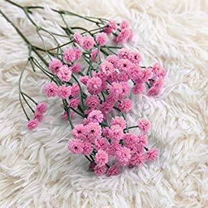 Fasclot Baby Breath Gypsophila Artificial Flowers, Babies Breath Flowers Bush Artificial Gypsophila Silk Silica Real Touch Blooms for Wedding Bridal Party Home Floral Arrangement Deco (Hot Pink) 3