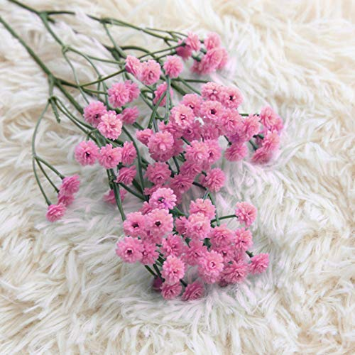 Glumes 90 Head Artificial Gypsophila Real Touch Baby Breath Realistic Single Fake Bright Small Flowers White Plants for Home Wedding Decoration ()