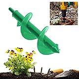 Maikouhai Spiral Drill Bit, 9' Planter Garden Auger Planting Hole Digger Drill Digging Weeds Digging Deep Holes Bulbs Seeds Remover Tool - Green, 25x8cm