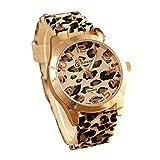 Fashion Unisex Geneva Leopard Silicone Jelly Gel Quartz Analog Wrist Watch(Gold)