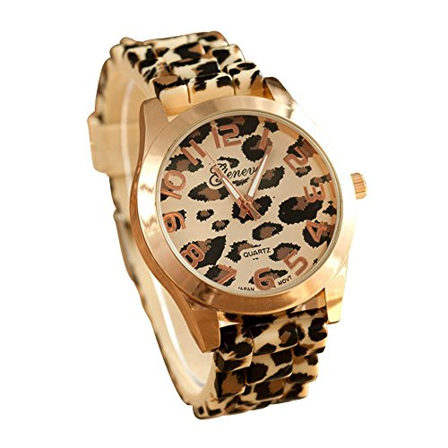 Fashion Unisex Leopard Silicone Jelly Gel Quartz Analog Wrist Watch(Gold)