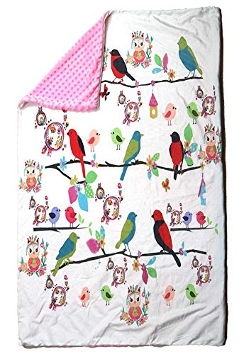 Weighted Blanket(100% Cotton) with Glass Beads and Plush Minky Dot Removable Cover (5 lbs,36