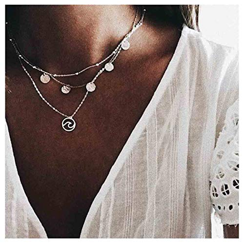 Yfe Sequins Necklace Choker Silver Wave Neckalce 3 Layer Pendant Necklaces for Women and Girls Jewelry (Silver ()